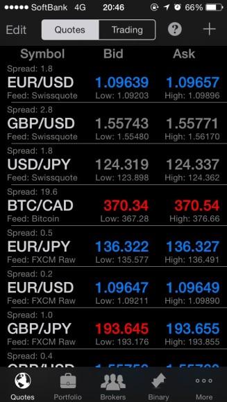 通貨選択画面